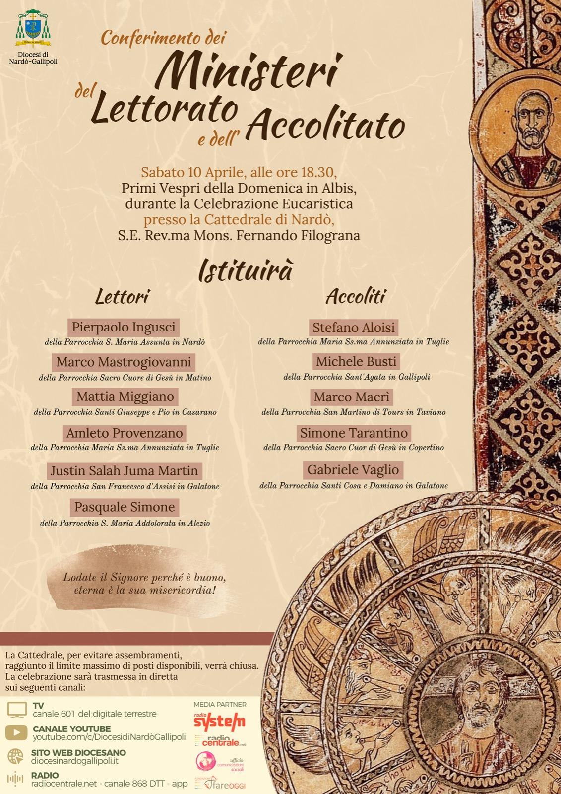 Conferimento dei Ministeri del Lettorato e dell'Accolitato