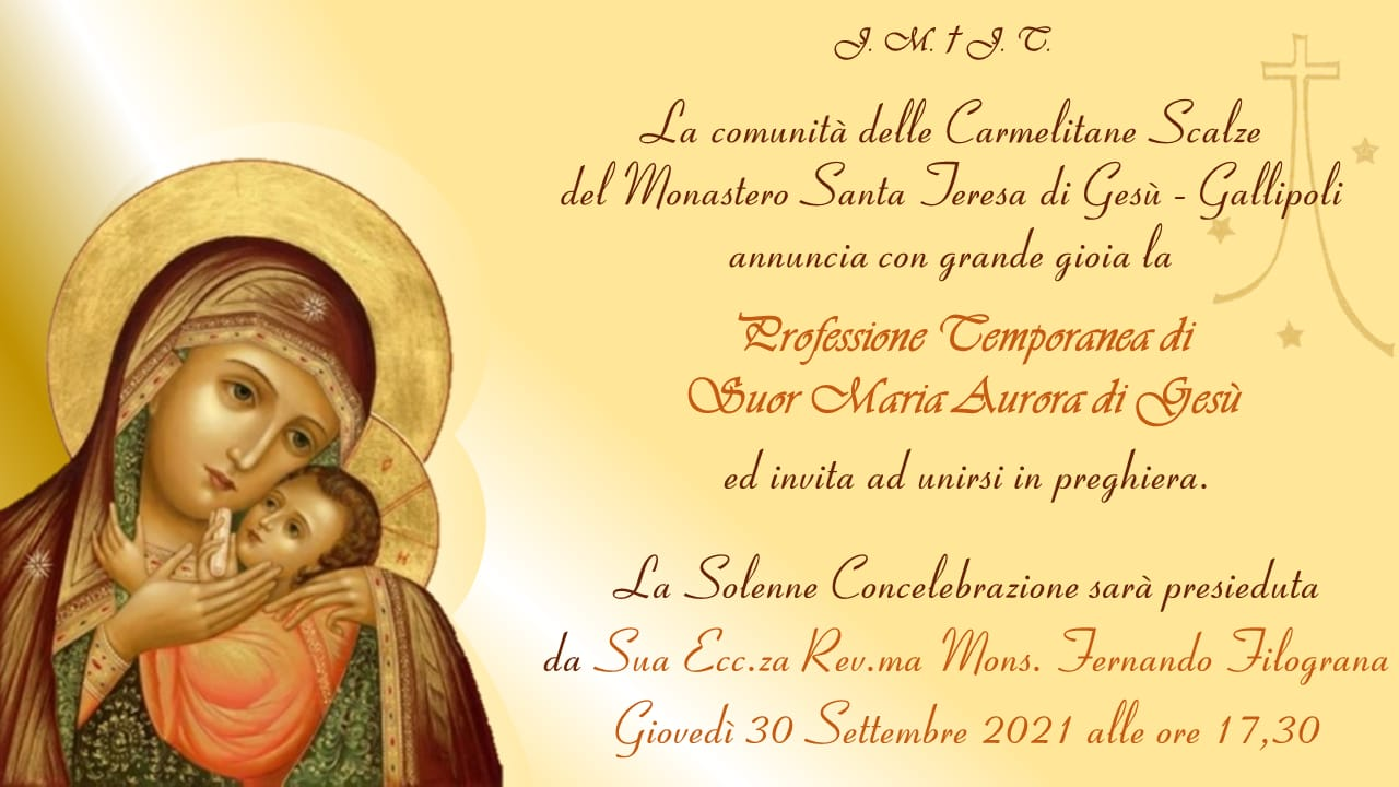 Professione temporanea di Suor Maria Aurora di Gesù
